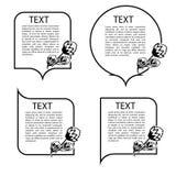 Un sistema de burbujas del discurso, con los elementos florales Foto de archivo