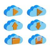 Un sistema de carpetas de reserva de los datos de la nube, aislado en un fondo blanco Concepto de diseño de la carpeta de la nube stock de ilustración