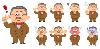 Un sistema de 9 clases de actitudes y de expresiones faciales de un hombre rico ilustración del vector