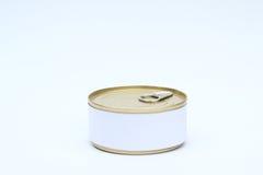 Un sistema de comida Tin Can con la etiqueta blanca en blanco en el fondo blanco Fotos de archivo libres de regalías