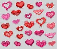Un sistema de corazones rojos y rosados del día de tarjetas del día de San Valentín colección imprimible de las etiquetas engomad Imagen de archivo