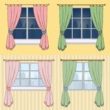 Un sistema de cortinas con una hermosa vista de la ventana Imágenes de archivo libres de regalías