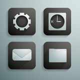 Un sistema de cuatro iconos para los sitios web y de programas en color azul y negro fotos de archivo