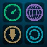 Un sistema de cuatro iconos para transferir los datos en diversos colores Imagen de archivo libre de regalías