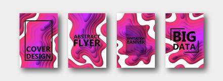 Un sistema de cuatro opciones para las banderas, aviadores, folletos, tarjetas, carteles para su diseño, en rojo, púrpura, rosado libre illustration