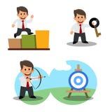 Un sistema de dibujos de un hombre de negocios joven Realización de la meta éxito stock de ilustración
