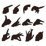 Un sistema de 12 diversas manos en diversas actitudes Fotografía de archivo libre de regalías