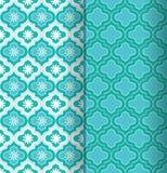 Un sistema de dos tejas marroquíes inconsútiles verdes coloridas del modelo con diseño decorativo y floral stock de ilustración