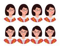 Un sistema de emociones Expresión de una cara del ` s de la mujer Imagenes de archivo