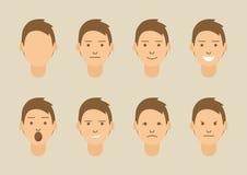 Un sistema de emociones 8 tipos de caras masculinas ilustración del vector