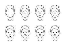 Un sistema de emociones 8 tipos de caras masculinas stock de ilustración