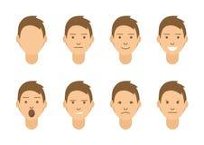 Un sistema de emociones 8 tipos de caras masculinas Diversas imágenes del vector de los humores stock de ilustración