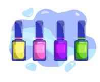 Un sistema de esmaltes de uñas multicolores stock de ilustración
