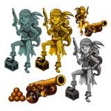 Un sistema de estatuas de un pirata de la muchacha hecho de la piedra y del oro aislados en un fondo blanco Un cañón con los obus ilustración del vector