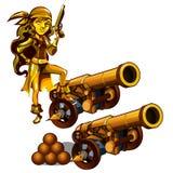 Un sistema de estatuas de un pirata de la muchacha hizo el oro aislado en un fondo blanco Un cañón con los obuses Vector stock de ilustración