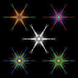 Un sistema de estrellas coloridas hexagonales con los extremos largos Imágenes de archivo libres de regalías