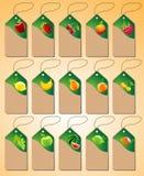 Un sistema de etiquetas con las diversas frutas Foto de archivo libre de regalías