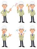 Un sistema de expresiones faciales y de gestos de seis tipos de varones en una tienda de la construcción que lleva un casco stock de ilustración