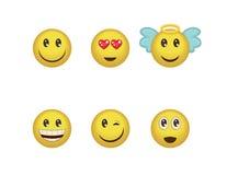 Un sistema de expresiones positivas del emoticon de la diversión Sonrisa, guiño, ángel, sorprendido, en amor, los smiley de la ri Ilustración del Vector