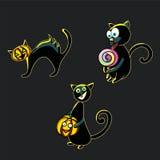 Un sistema de gatos negros divertidos para celebrar Halloween Fotos de archivo libres de regalías