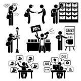 Pictogramas de la estrategia de marketing del anuncio Fotografía de archivo libre de regalías