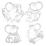 Un sistema de hipopótamos Libro de colorante Imagen de archivo libre de regalías