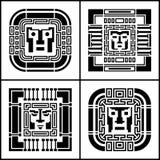 Un sistema de iconos cibernéticos del avatar del pixel digital Informática, seguridad, cortando Persona blanco y negro de la cara Fotos de archivo
