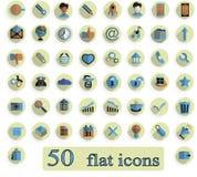 Un sistema de iconos creativos planos en el fondo blanco 50 junta las piezas Imagen de archivo libre de regalías