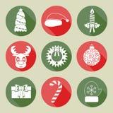 Un sistema de iconos de la Navidad Color blanco Diseño plano Vector Imagenes de archivo