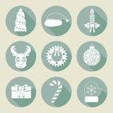 Un sistema de iconos de la Navidad Colores retros Diseño plano Vector Fotografía de archivo libre de regalías