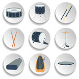 Un sistema de iconos del tambor Diseño plano Foto de archivo