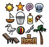Iconos del verano stock de ilustración