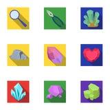 Un sistema de joyería, de cristales, de minerales y de metales costosos El joyero examina los ornamentos Amd precioso de los mine ilustración del vector
