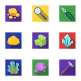 Un sistema de joyería, de cristales, de minerales y de metales costosos El joyero examina los ornamentos Minerales preciosos libre illustration