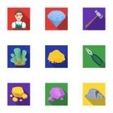 Un sistema de joyería, de cristales, de minerales y de metales costosos El joyero examina los ornamentos Minerales preciosos stock de ilustración
