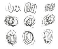 Un sistema de líneas redondas exhaustas de garabatos de diverso grueso Bosquejo dibujado mano del garrapatos Vector ilustración del vector