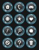 Botones metálicos de la acción del azul que brillan intensamente libre illustration