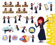 Un sistema de la colegiala de Jap?n relacionado con el alcohol stock de ilustración