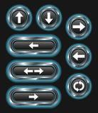 Botones metálicos de la flecha del azul que brillan intensamente stock de ilustración