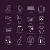 Un sistema de la línea fina moderna servicio público blanco, instalaciones de vivienda, vivienda comunal mantiene iconos del vect Ilustración del Vector