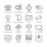 Un sistema de la línea fina plana iconos en el fondo blanco para el negocio blogging acertado Incluye: hoja informativa, social,  Libre Illustration