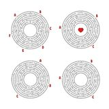 Un sistema de laberintos redondos Juego para los cabritos Rompecabezas para los niños Enigma del laberinto Ejemplo plano del vect ilustración del vector