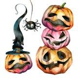 Un sistema de las calabazas multicoloras para Halloween Caras divertidas stock de ilustración