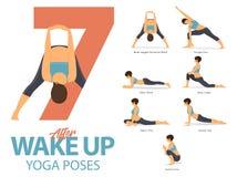 Un sistema de las figuras femeninas de las posturas de la yoga para Infographic 7 actitudes de la yoga para el ejercicio después  Foto de archivo