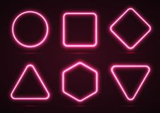 Un sistema de las formas geométricas de neón Imagen de archivo