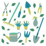 un sistema de las herramientas para el jardinero imagen de archivo