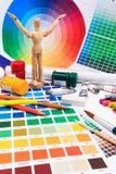 Un sistema de las herramientas para el trabajo de arte creativo con la guía de la paleta coloreada del extracto Fotos de archivo libres de regalías
