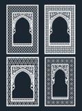 Un sistema de las ventanas árabes para el corte del laser Diseño del marco del vintage, tarjeta de felicitación, cubierta en esti ilustración del vector