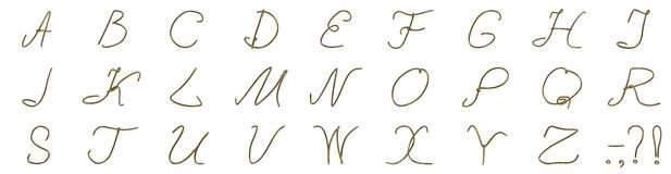 Un sistema de letras de un alambre de oro Imagen de archivo libre de regalías