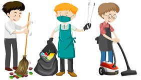 Un sistema de limpieza del hombre joven stock de ilustración